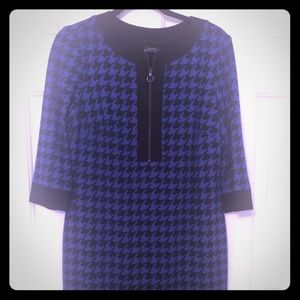 Blue and black houndstooth knit dress